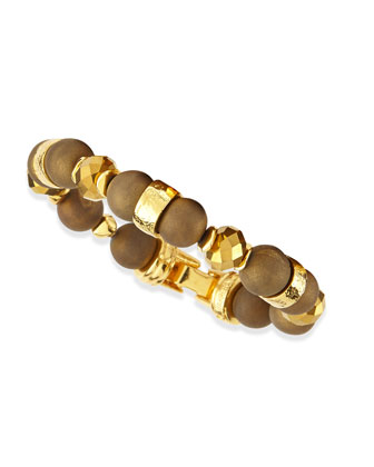 Gold-Plated & Druzy Beaded Bracelet