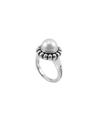 Luna Fluted Pearl Caviar Ring, 9mm