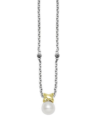 Luna Silver & Gold Pearl Pendant Necklace