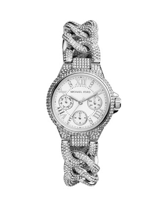 Mini Silver Color Stainless Steel Camille Three-Hand Twisted Glitz Watch
