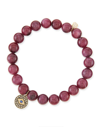 8mm Natural Ruby Beaded Bracelet with 14k Gold/Diamond Round Evil Eye Charm ...