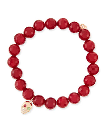 8mm Red Agate Bead Bracelet with Skull Charm