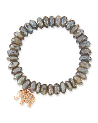 10mm Labradorite Bead Bracelet with Diamond Elephant Charm