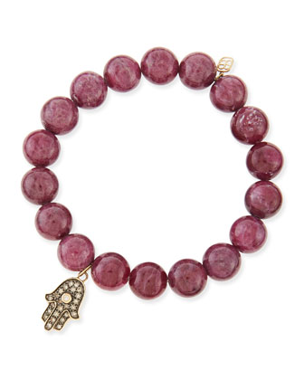 10mm Ruby Beaded Bracelet with Diamond Hamsa