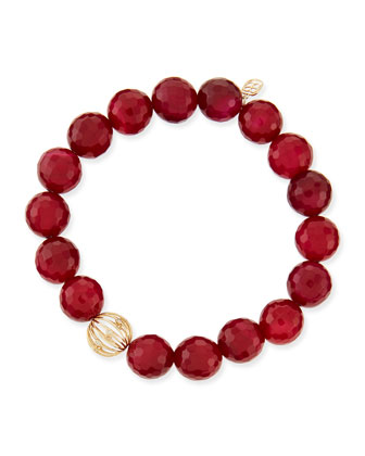 10mm Red Agate Beaded Bracelet with Diamond Ball