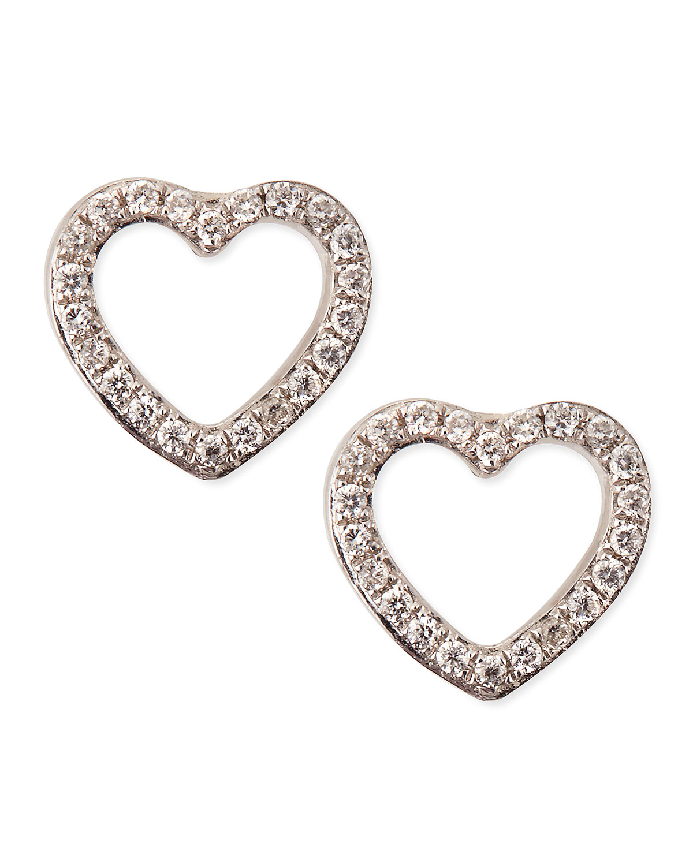 White Gold Diamond Heart Stud Earrings   KC Designs   White gold