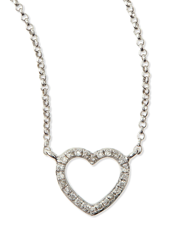 White Gold Diamond Heart Pendant Necklace   KC Designs   White gold