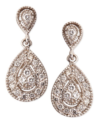 Antiqued Pave Diamond Teardrop Earrings