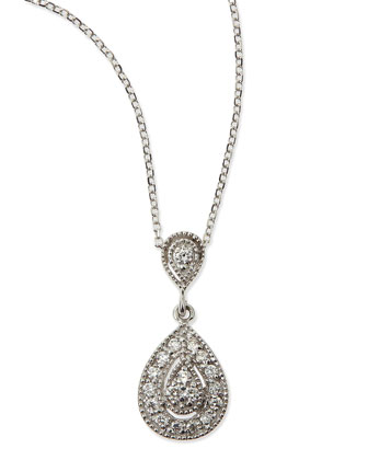 Teardrop Antiqued Pave Diamond Necklace