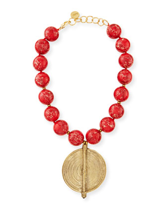 Red Jasper Bead Necklace with African Brass Pendant