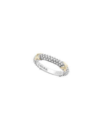 Silver & 18k Gold Pave Diamond Band Ring, Size 7