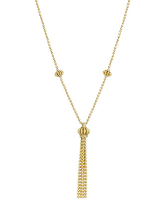 18k Yellow Gold Birdcage Tassel Necklace