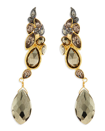 Crystal & Pyrite Rocky Earring Cuffs