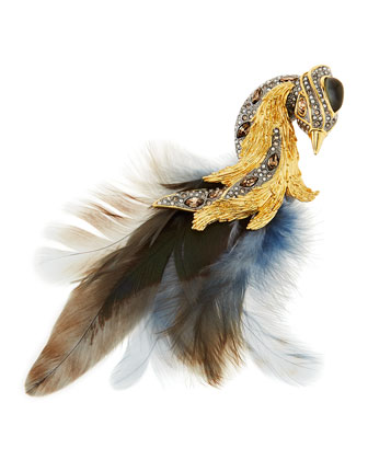 Feathered Starling Brooch