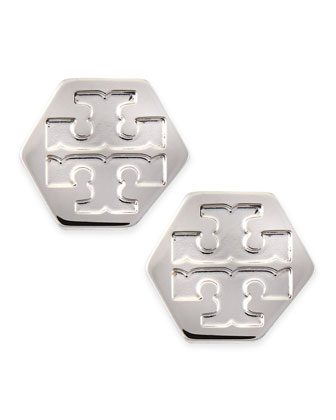 Hexagon Logo Stud Earrings, Stainless Steel