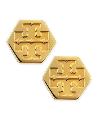 Hexagon Logo Stud Earrings, Golden