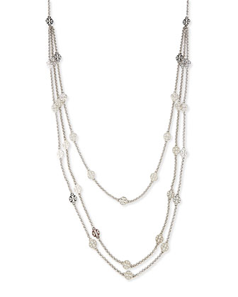 Silvertone 3-Strand T-Logo Necklace