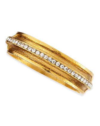 Hammered Gold-Plated 1-Row Crystal Bracelet
