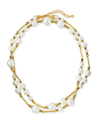 Long Simulated Pearl Necklace