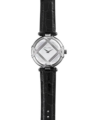 Pave Diamond Watch with Alligator Strap, Black