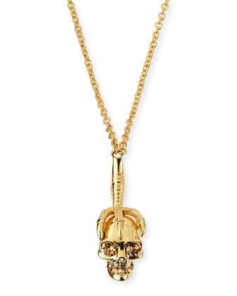 Clawed Skull Pendant Necklace, Golden