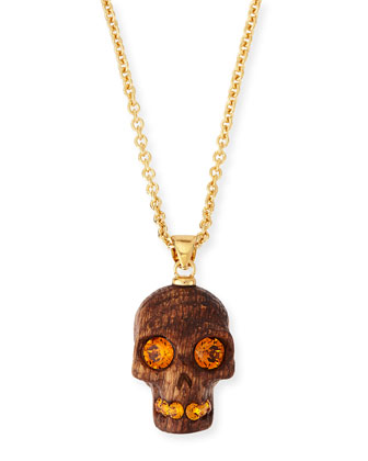 Wooden Skull Pendant Necklace, Golden