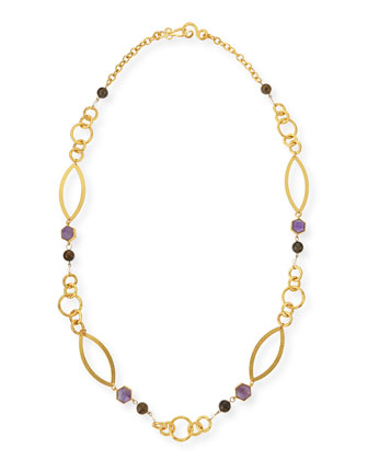 24k Gold-Plate Multi-Stone Peace Necklace, 42