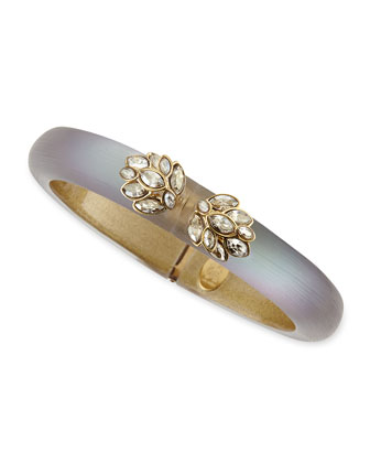 Small Ombre Lucite Bangle with Labradorite, Gray