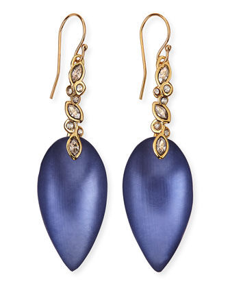 Blue Lucite Crystal-Lace Drop Earrings