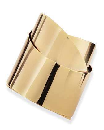 Golden Metal Geometric Ribbon Cuff