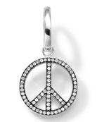 Sterling Silver Peace Sign Charm with Diamonds