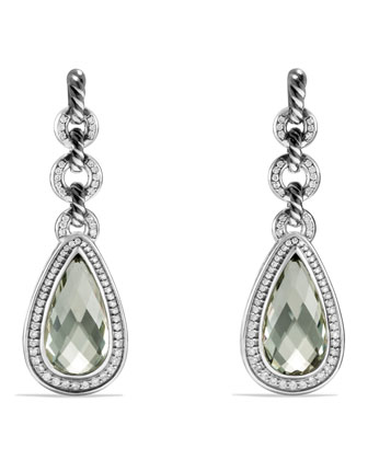 Anjou Drop Earrings with Prasiolite and Diamonds