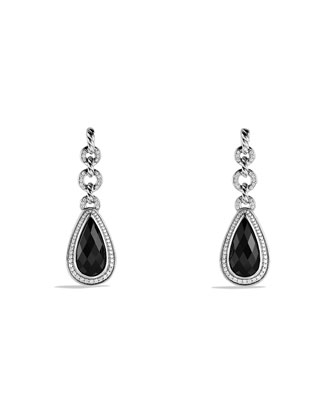Anjou Teardrop Earrings with Onyx and Diamonds