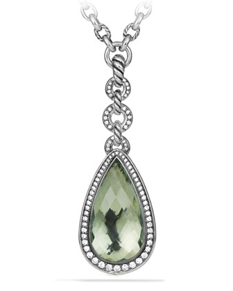 Anjou Teardrop Necklace with Prasiolite and Diamonds