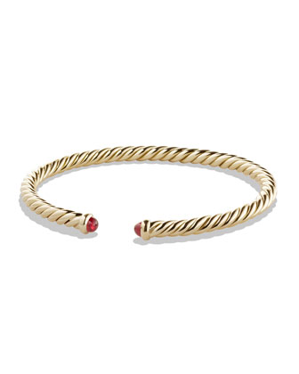 Cable Bracelet with Rubies in Gold