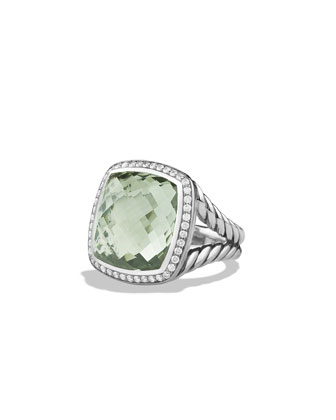 Albion Ring with Prasiolite and Diamonds, Size 7