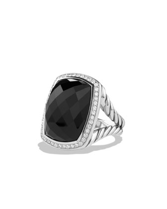 Albion Ring with Onyx and Diamonds, Size 6