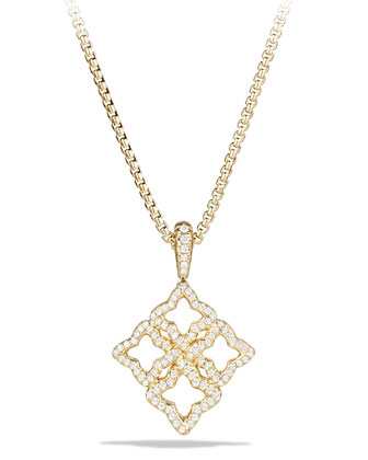 Venetian Quatrefoil Necklace in Gold with Diamonds