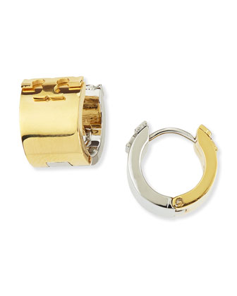 Reversible Two-Tone Logo Huggie Earrings