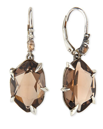 Fancy Smoky Quartz & Diamond Drop Earrings