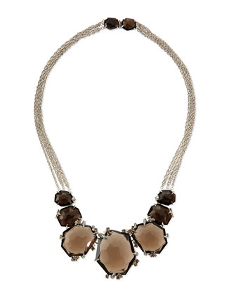 Large Smoky Quartz & Diamond Cluster Necklace