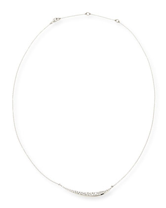 Silver Pave Diamond Marquise Crescent Necklace