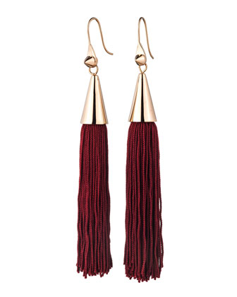 Rose Gold Plated Small Silk Tassel Earrings, Bordeaux