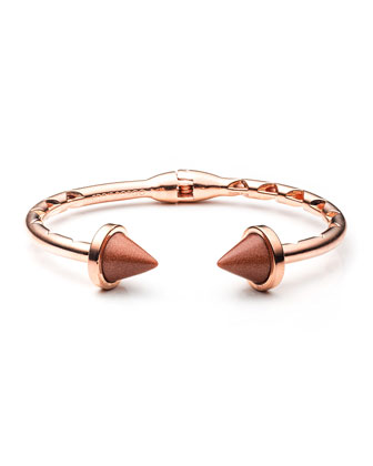 Rose Gold Plated Sandstone Inlaid Bi-Cone Hinged Cuff