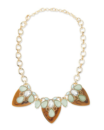 Tiered Resin Statement Necklace, Brown