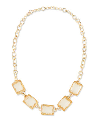 By The Sea Crystal Collar Necklace, Peach