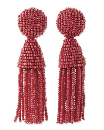 Beaded Short Tassel Clip-On Earrings, Red