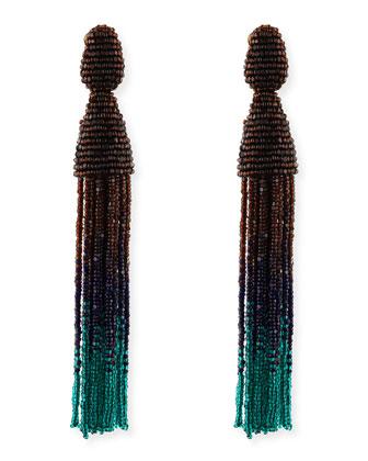 Long Ombre Bead Tassel Clip-On Earrings