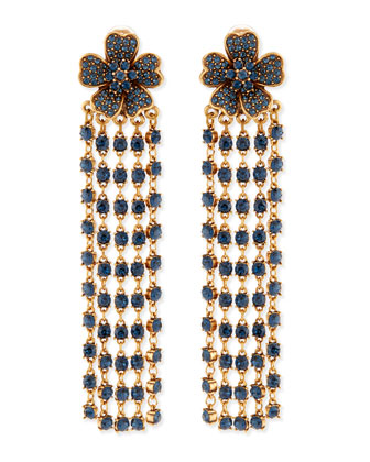 Flower Drop Earrings with Crystal Fringe, Navy