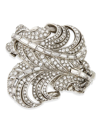 Pave Crystal Feather Cuff